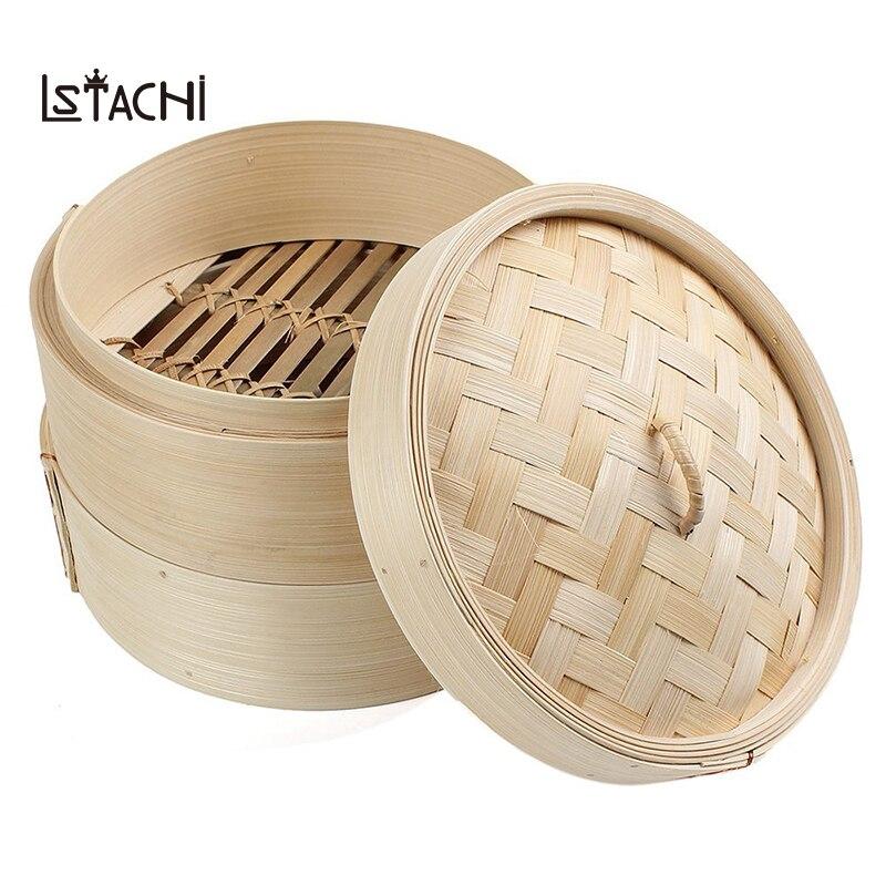 LSTACHi 2 уровня 8 дюймовый бамбуковый пароход тусклый сум корзина рисовая паста плита набор с крышкой