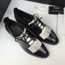 Women's Oxfords Flats Genuine Leather Lace-up British Style Female Footwear Fringe Brand Designer Shoes for Women Free Shipping