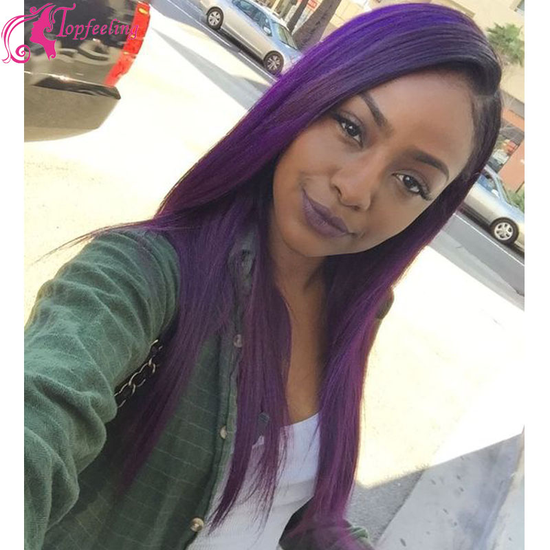 Top Quality Silky Straight Purple Human Hair Wigs Ombre Glueless Lace Front Wig Brazilian Full Baby In From