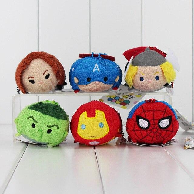 Estilo 6 9 centímetros Capitão América IronMan Hulk verde Black Widow Spiderman Thor Screen Cleaner chaveiro de pelúcia brinquedo