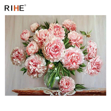 RIHE Pink Rose DIY Oil Painting By Numbers Home Decor Canvas Painting Acrylic Paint Modern Wall Picture Art for living room modern style diy oil painting by numbers wall art painting by numbers rose flower for living room decor