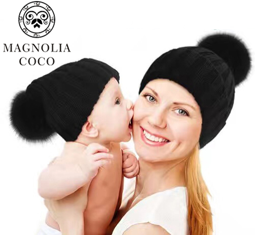 New Mink And Fox Fur Ball Cap Pom Poms Winter Hat For Women girl 's Hat Knitted Beanies Cap Brand New Thick Parent-Child Cap women s winter hat new real mink fur pom fluffy ball hat cap fox fur ball mink fur fashion russian cap hat for women dhy17 20