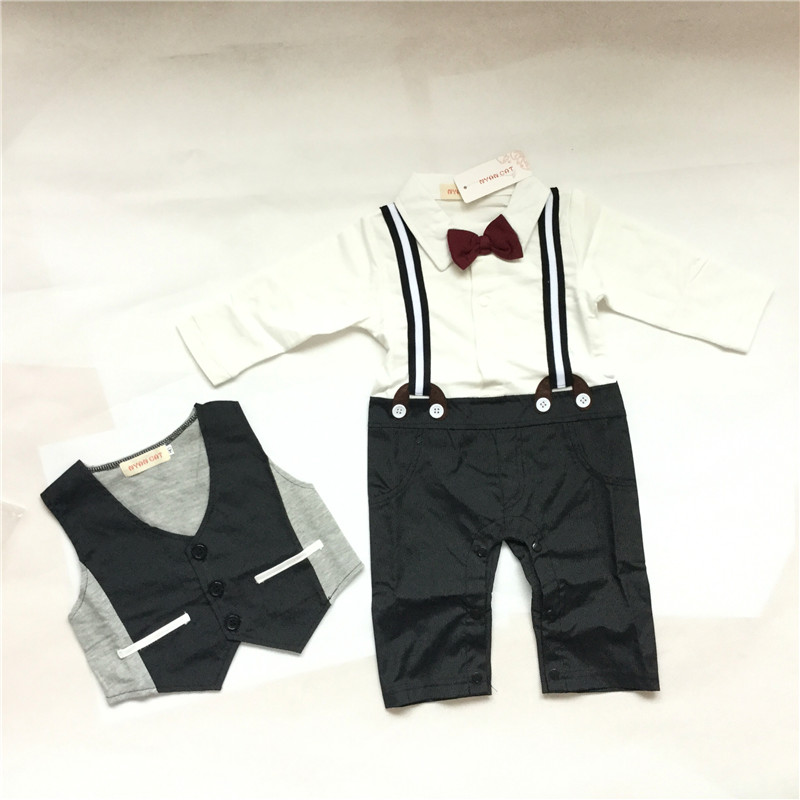 Baby Boys Clothes Set 2Pcs Kids Boy Clothing Set Newborn Infant Gentleman Overall Romper + Tank Suit Toddler Baby Boys Costume