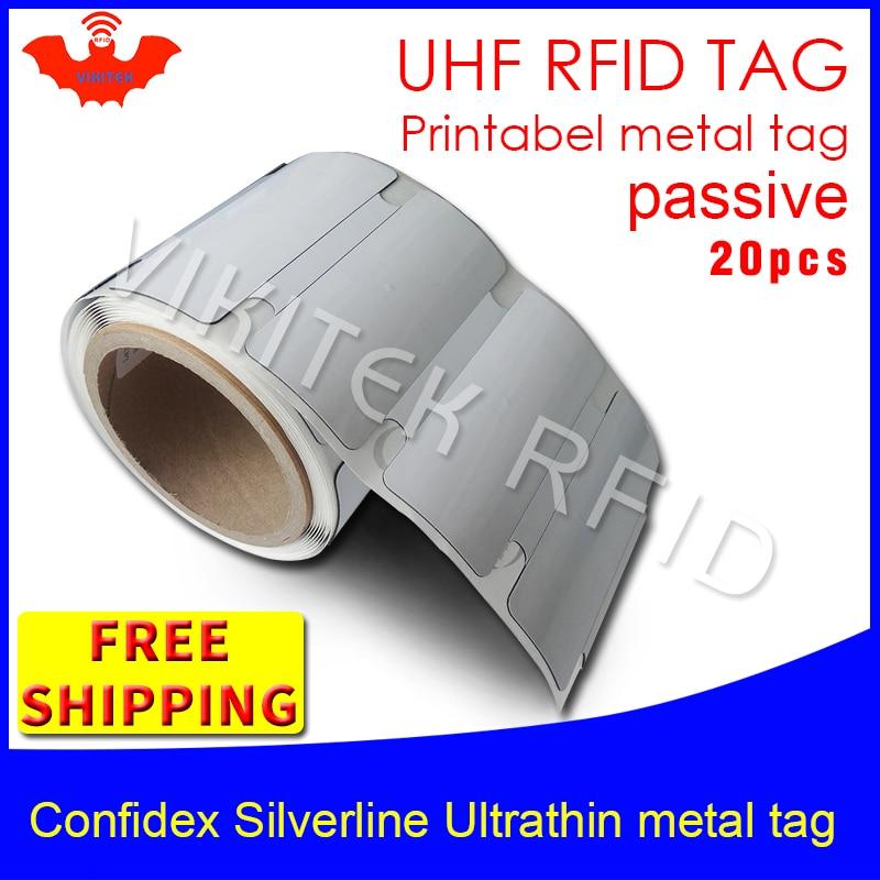 UHF RFID ultrathin metal tag confidex silverline 915m 868m ImpinjM4QT EPC 20pcs free shipping long range printable PET RFID labe