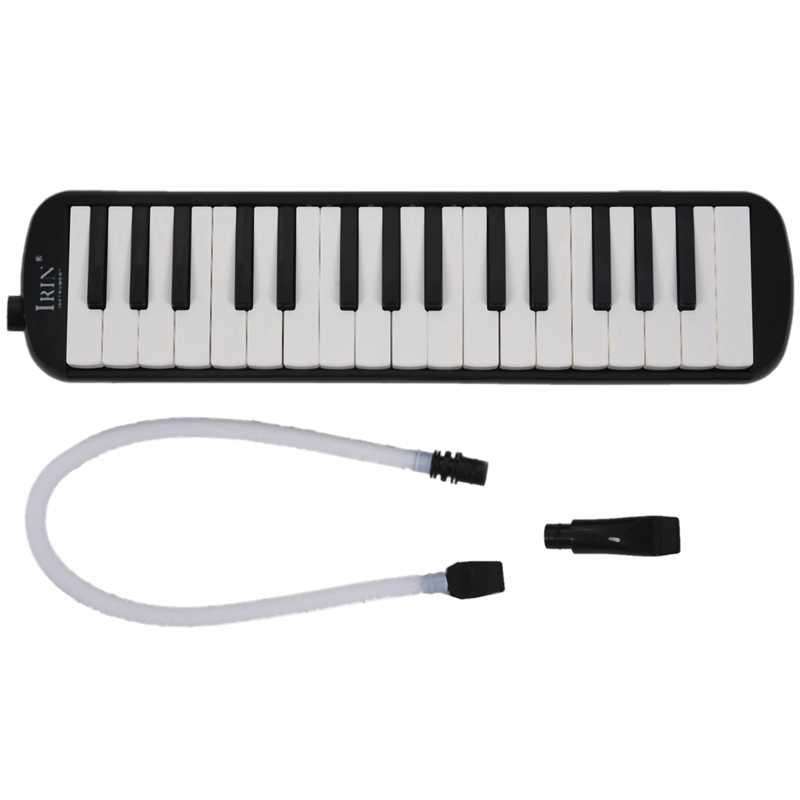 IRIN 1 set 32 مفتاح البيانو نمط ميلوديكا مع صندوق الجهاز الأكورديون الفم قطعة ضربة مفتاح المجلس (أسود)