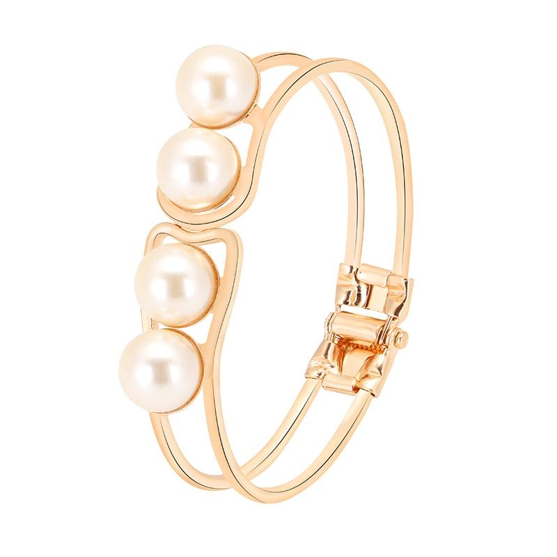 Lemon Value Fashion Charms Imitation Pearl Gold Color Opening Bracelets & Bangles Women Jewelry Femme Pulseras D195
