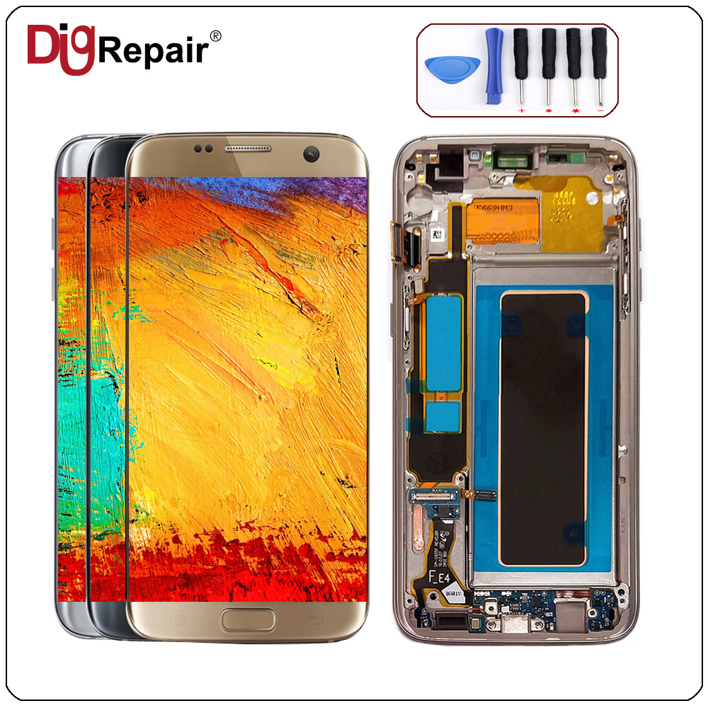 S7 Edge Lcd For SAMSUNG GALAXY S7 Edge Lcd SM G935F LCD Screen Display  Touch Digitizer Replacement With Frame S7 Edge Display