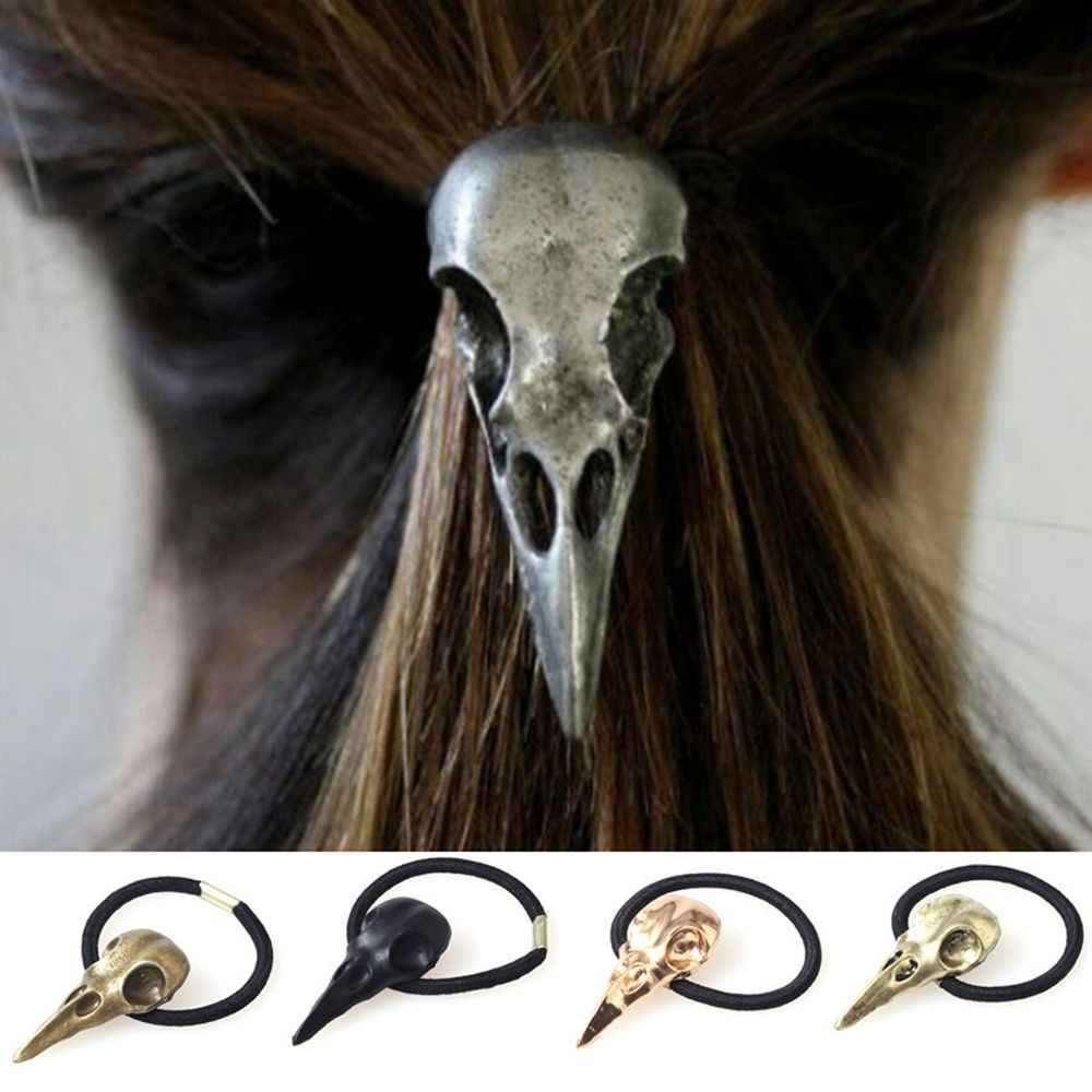 1PC Metal Women Punk Gothic Hairband crow Raven Skull Scrunchie Ponytail Elastic Hair Rope Halloween Hair Accessories
