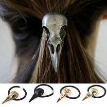 1PC Metal Women Punk Gothic Hairband crow Raven Skull Scrunchie Ponytail Elastic Hair Rope Halloween Hair Accessories(China)
