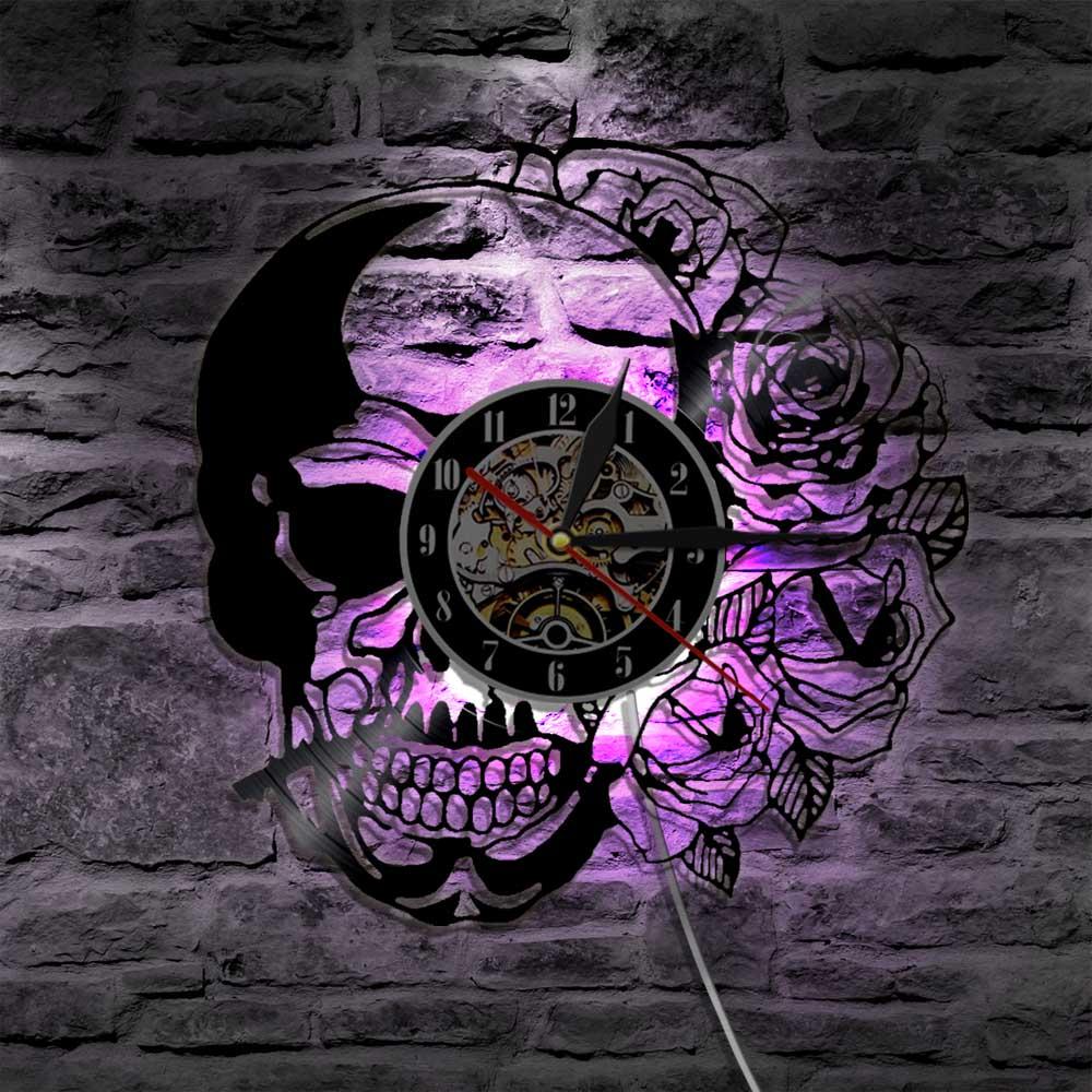1 pieza calavera con Rosa Vintage vinilo registro Reloj de pared con luz de fondo LED Hippie calavera moderna pared colgante iluminación decorativa