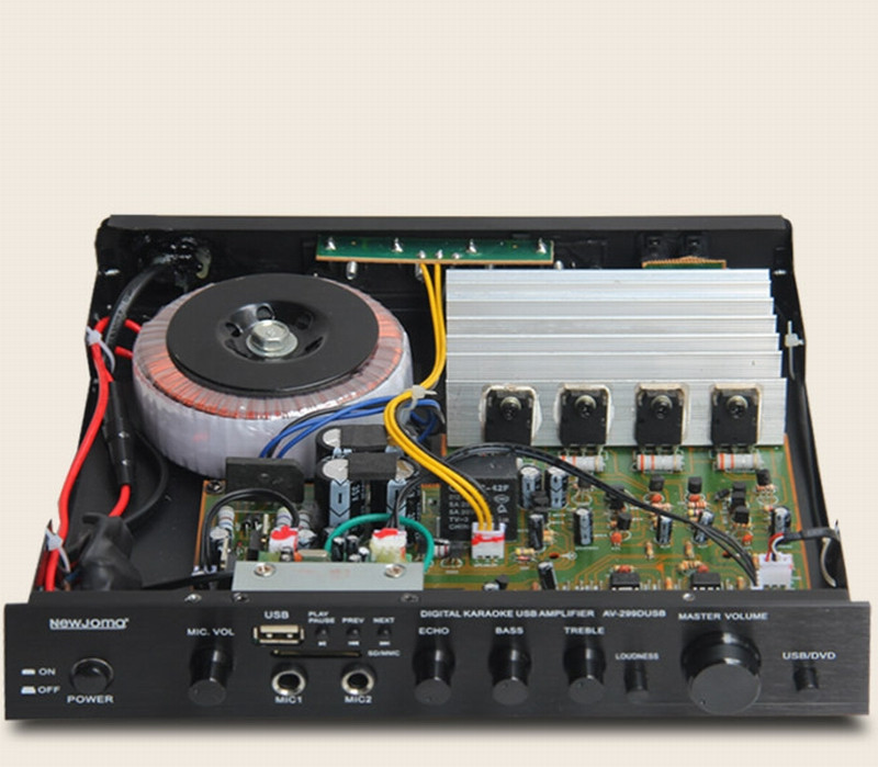 AV-299D 120W 4 Ohms 2.0 Channel HIFI Fever 1941/5198 Power Tube Home Bluetooth Audio Amplifier With USB SD MP3 Microphone Play