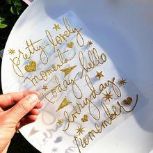 1 шт./партия креативные наклейки с горячей штамповкой на английском алфавите цифровая наклейка с блестками