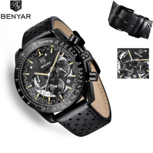 BENYAR2019 New Men's Watches Leather Quartz Wristwatch Mens Watches Top Brand Luxury Watch Men Sport Military Watch Reloj Hombre bomiago quartz watch men alloy waterproof leather band business wristwatch mens watches top brand luxury reloj de hombre new
