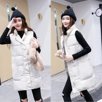 Long Vest Winter Coat Women Sleeveless Down Jacket Slim Female Warm Coat Mandarin Collar Korean Waistcoat Parka Vest
