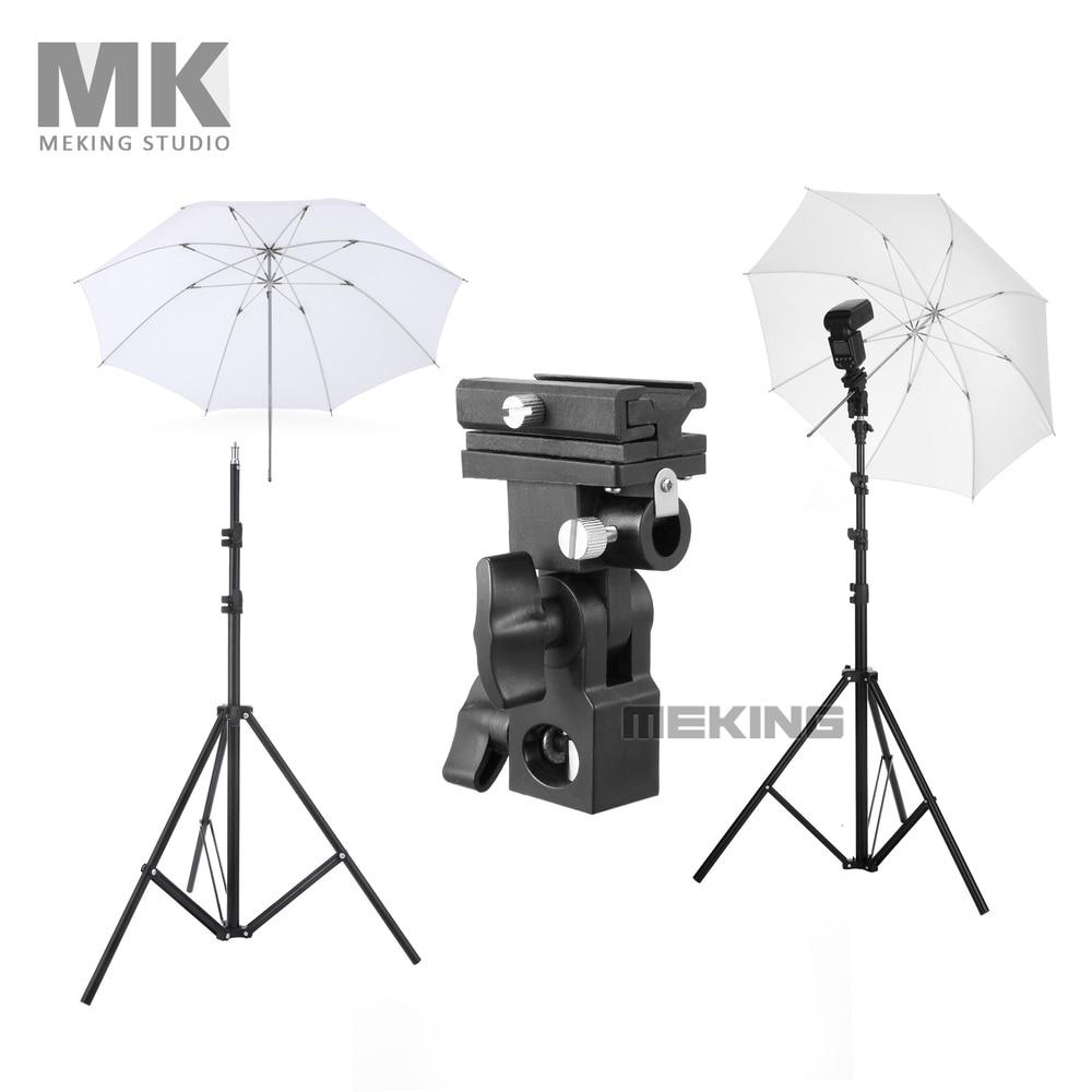 Meking W803 Light Stand Flash Bracket B Mount 33inch Translucent Umbrella Speedlite Shooting Kit 1 Fotografie White Umbrella