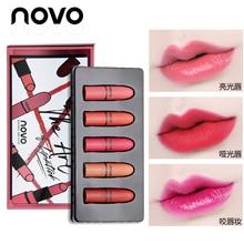 5pcs/lot NOVO Matte Lipstick Set 5 Colors Velvet Lipstick Moisturizer Natrual Nu
