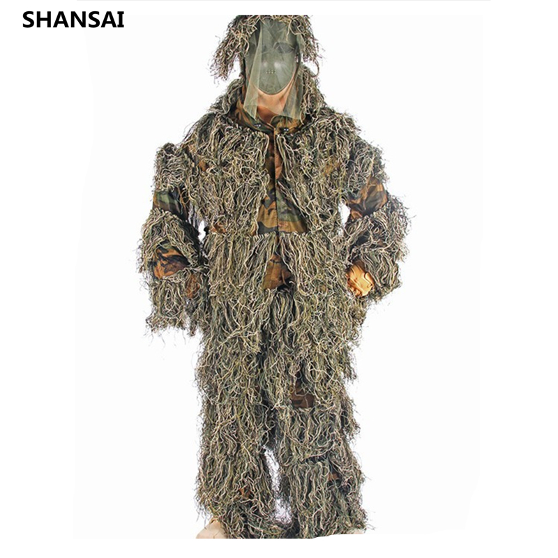 SHANSAI Battle Fatigues PP Yarn Bionic Ghillie Suits Camouflage Hunting Suit  Recon Paintball  Airsoft, Photographing Military bionic ghillie suits maple leaf camouflage hunting ghillie suits