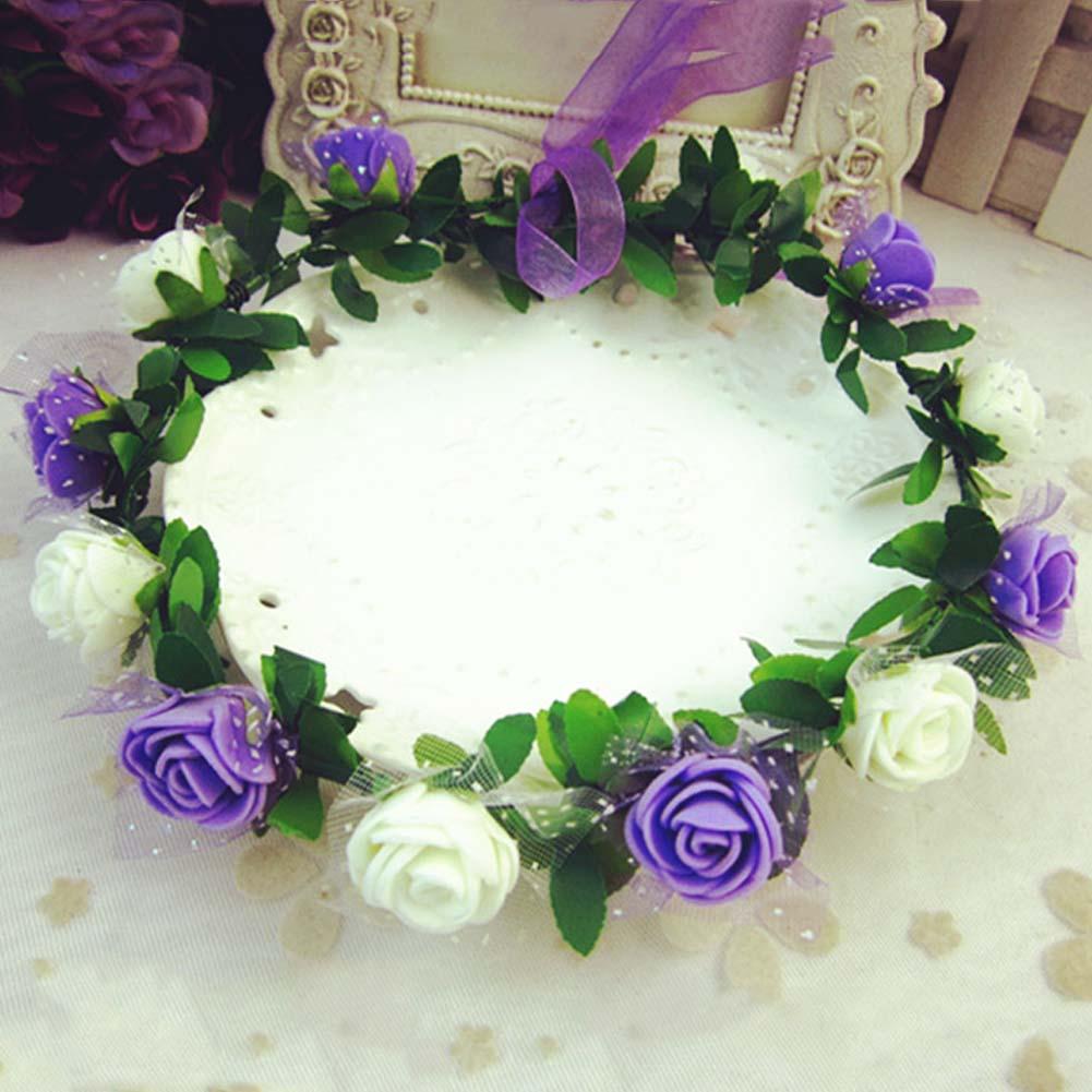 2018 rosas claveles peonía flor Halo nupcial corona Floral corona banda corona  menta cabeza guirnalda de boda Dama en Accesorios Para el cabello de Moda y  ... 8a3c44dc709d