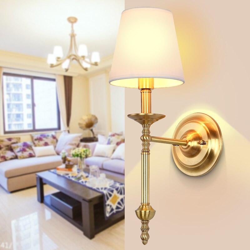 Américain Kung cuivre mur LED lampe E14 titulaire en laiton applique mode chambre lumière salon chaud décorer la lumière