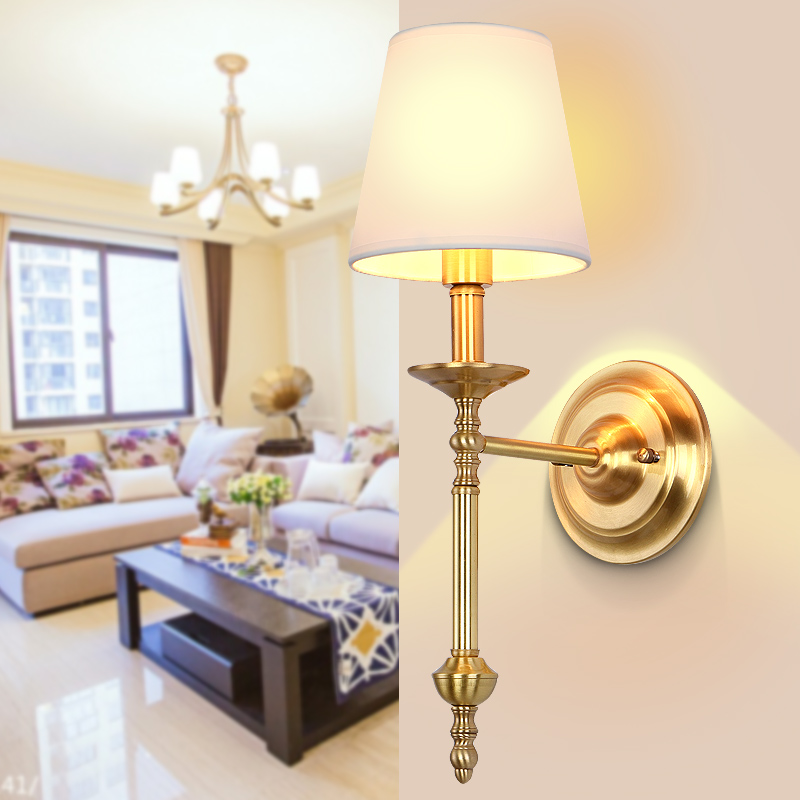 America Kung Brand Copper LED Wall Lamp E14 Holder Brass Fashion Bedroom Light Living