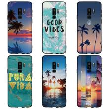 summer Palms Trees alohas Chill Pattern Soft Silicone Black Cellphone Cases for Samsung S7 S7edge S8 S8Plus S9 SPlus Note 8
