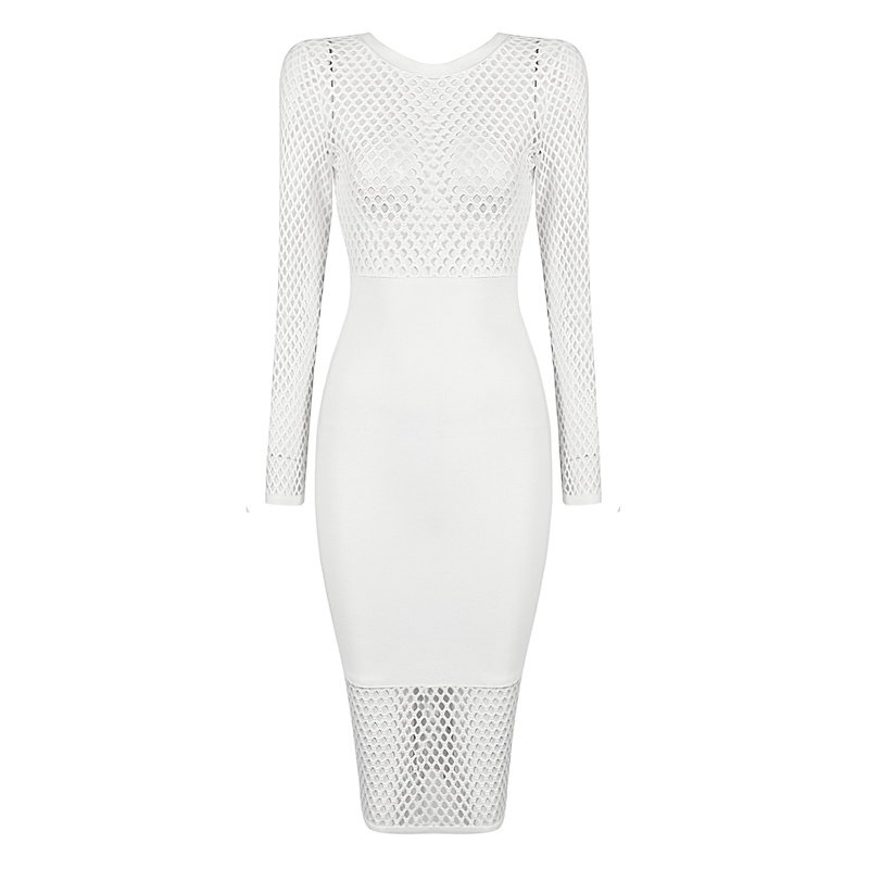 2d4fecc97dbb4 New Sexy Long Sleeve White Dot Mesh Party Celebrity Bodycon Midi Bandage  Dress-in Dresses from Women's Clothing on Aliexpress.com | Alibaba Group