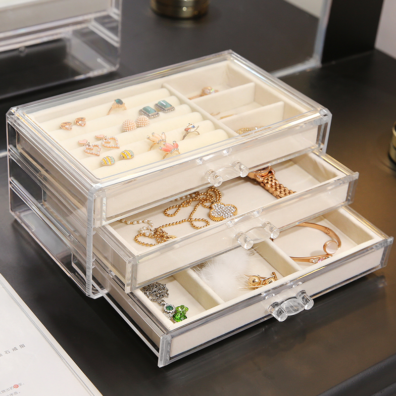 ANFEI New Arrivals 3 Layers Jewelry Makeup Storage Box With Tray Clear Makeup Organizer Storage Jewelry Tray Drawer Box  C171