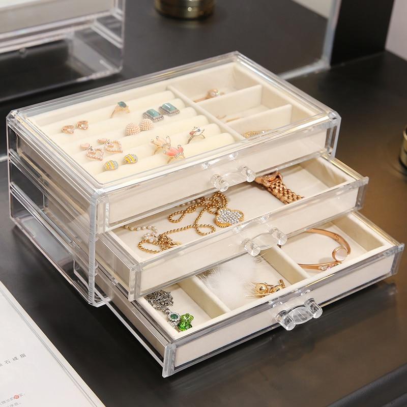 ANFEI New Arrivals 3 Layers Jewelry Makeup Storage Box With Tray Clear Makeup Organizer Storage Jewelry Tray Drawer Box  C171