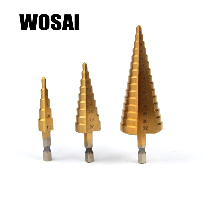 WOSAI 3 stücke Metric Spirale Flöte Schritt HSS Stahl 4241 Kegel Titan Beschichtete Bohrer Bits Werkzeug Set Loch Cutter 4 -12/20/32mm