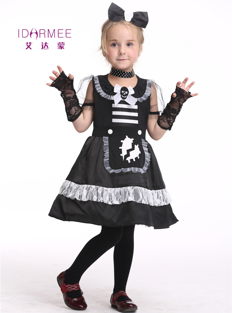 idarmee girls dress skeleton costume cosplay halloween costumes for kids performance clothes toddler girl dress 3 - Skeleton Halloween Costume For Kids