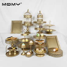 18 Pcs Wedding Gold Pink White Metal Fruit Crystal Birdcage Set Round Cake Stand