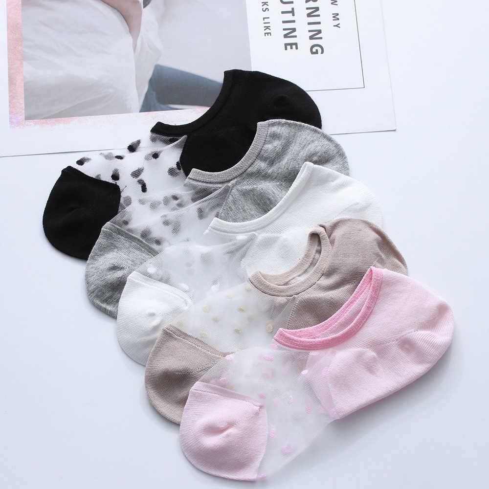 1 คู่ 2019 ฤดูร้อนโปร่งใสถุงเท้าข้อเท้าตาข่ายถักลูกไม้คริสตัลผ้าไหมบางถุงเท้าสั้นที่มองไม่เห็นถุงเท้า Happy