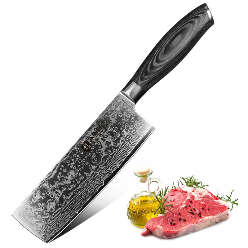 "XINZUO 6.8""Chef Knife Japan VG10 Damascus Steel Nakiri Knife Kitchen CookTool Best Quality Vegetable Knives Pakkawood Handle"