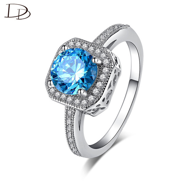 Mysterious Blue Austrian Crystal Rings For Women White 585 Gold Color Fashion Jewelry Vintage Square Design Anel Bijoux  dd154