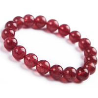 Natural Strawberry Quartz Clear Round Beads Women Charm Crystal Bracelet Trendy Crystal Red Round Bead Bracelet Drop Shipping