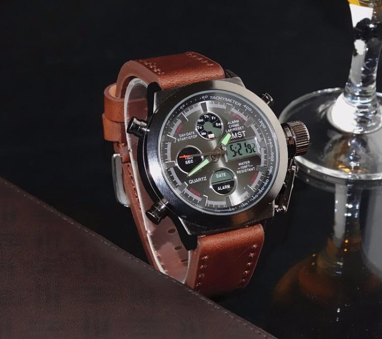 AMST Military Watches Dive 50M Nylon&Leather Strap LED Watches Men Top Brand Luxury Quartz Watch reloj hombre Relogio Masculino 5