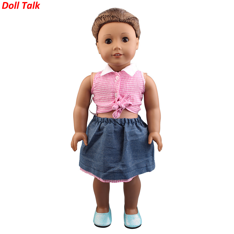 Doll Talk New Arrival High Quality Clothes Short Skirt Set For Dolls Pink Clothes Short Skirt For 18 Inch Doll Doll Accessories