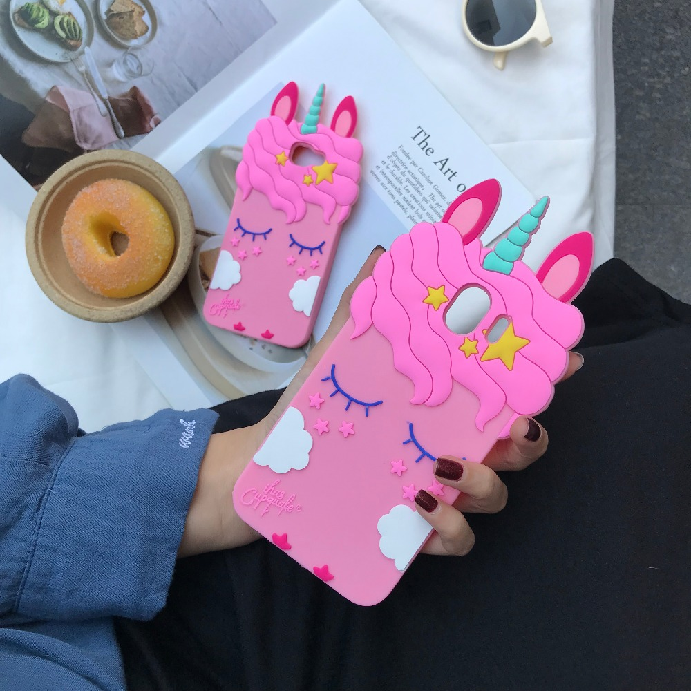 Silicone Case For Samsung Galaxy J3 J5 J7 2016 2017 J4 J6 J8 A6 A8 Plus 2018 S9 S8 Plus note 8 9 Cases 3D Cartoon Unicorn cover in Fitted Cases from Cellphones Telecommunications