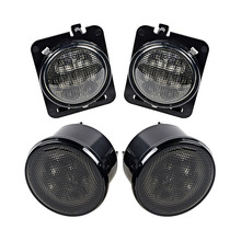 1 Pair Car LED Side Marker Lights Smoke Lens Yellow Light Color Turning Signal Lamp for Jeep Wrangler smoke lens yellow led front replacement turn signal light assembly for 2007 2016 jeep wrangler jk jku
