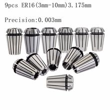 9PCS ER16 Elastic Cylinder Clamp High Precision Inner Hole 3-10mm 1/8 Spring Engraving Machine 0.003mm