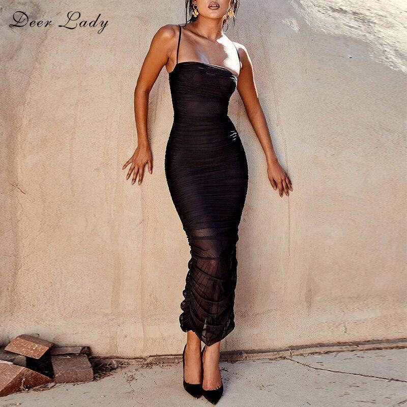 Deer Lady Maxi Summer Dress 2019 Sexy Black Bodycon Club Dress Organza Dress Fabric Bodycon Maxi