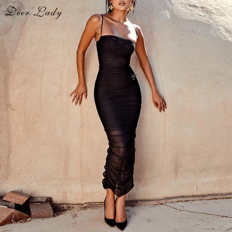 Women's Clothing 2018 Chrismas Dress Women Club Elegant Bodycon Dress Slit Sexy Mesh Organza Dress Brown For Party Night