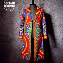 Men's clothing slim personality Color totem figure long Blazer plus size Men Trench coat hair stylist singer costumes
