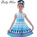 Летом 2016 новая горячая свободного покроя шифон девушка платье без рукавов павлин новорожденных девочек платья Vestido Infantil детская одежда tyh30534