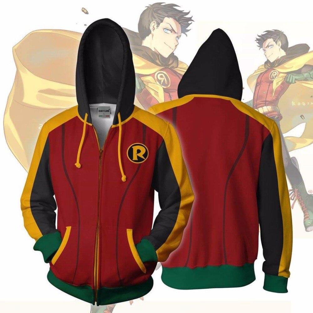2019 Men Hooded Barry Damian Robin 3D Printed Hoodies Casual Zipper Hoodie Hip Hop Tops Robin Damian Wayne Zip Up Hoodie