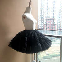 Ball Gown Underskirt Short Dress Black And white Cosplay Petticoat Tow Bones Lolita Petticoat Ballet Organza Crinoline