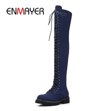 ENMAYER Women boots over the knee boots women round toe lace up stretch fabric flat with boots women platform boots ZYL927 moraima snc spring autumn fashion women riding boots over the knee flat with fringe strap buckle decoration round toe long boots