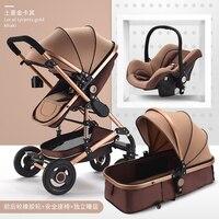 Роскошные 3 в 1 Детские коляски высокого пейзаж может сидеть лежащего складной новорожденных двусторонней шок ребенка толчок Алюминий спла