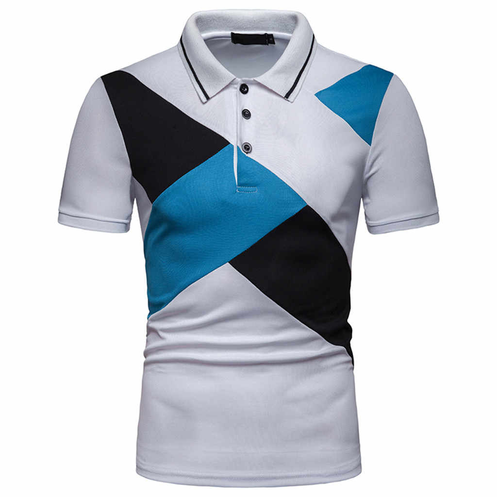 MUQGEW Plus Size Patchwork Polo Shirt Men Summer Short Sleeve Slim Fit Polo Shirt Men Streetwear Office Bussiness Polo Shirt Men