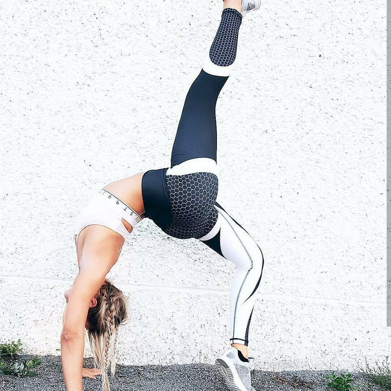 LASPERAL Honeycomb Printed Yoga Pants Women Push Up Professional Running Fitness Gym Sport Leggings Tights Slim Elastic Trousers